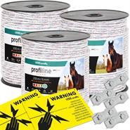 3x cordelettes pour clôture électrique VOSS.farming, 200 m, 6 x 0,25 HPC + 5 x connecteur + 2 x  panneaux de signalisation