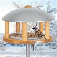 """Maison pour oiseaux """"Kolding"""" de VOSS.garden, en bois clair, toit en métal, avec support"""
