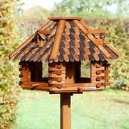 Maison pour oiseaux, très grand modèle, en bois de VOSS.garden «Feuillage d'automne» avec support massif - hauteur totale 1,45m