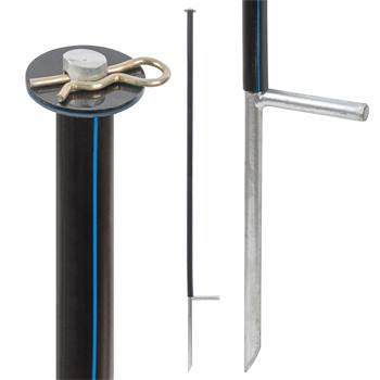 Piquet de renfort pour les filets de clôture, noir, 145 cm, Ø14 mm, galvanisé
