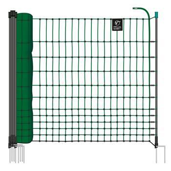 Filet non électrifiable farmNET pour les volailles, 25 m, de VOSS.farming, 112 cm, 9 piquets, 2 pointes, vert