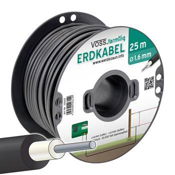Câble de clôture haute-tension 25 m avec fil de mise à la terre 1,6 mm