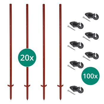 Kit VOSS.farming: 20 piquets d'angle en acier, 165 cm + 100 isolateurs annulaires avec goupille