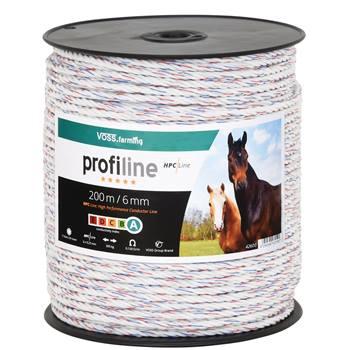 Cordelette pour clôture électrique de VOSS.farming, 200 m, Ø 6 mm, 6 conducteurs puissants HPC® de 0,25, corde pour clôture électrique de qualité, blanc