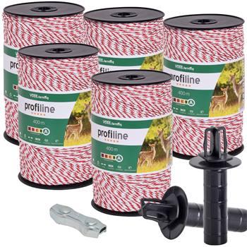 """5 x Fil de clôture électrique VOSS.farming, 400 m, 3 x 0,25 cuivre + 3 x 0,20 inox , 10 connecteurs, panneau d""""avertissement"""
