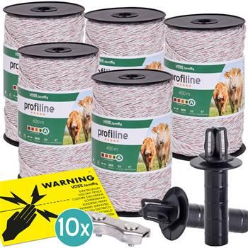 """5 x fil de clôture électrique VOSS.farming, 400 m, 3 x 0,25 cuivre + 3 x 0,20 inox, 10 connecteurs,  panneau d""""avertissement"""