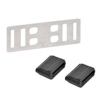 """5 x connecteurs """"Litzclip®"""" pour rubans de clôture électrique de 12,5 mm (inox)"""