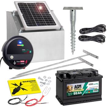 """Kit complet  VOSS.farming : Système solaire 12 W + boîtier + électrificateur clôture 12 V """"impuls duo DV40"""" + batterie 88 Ah"""