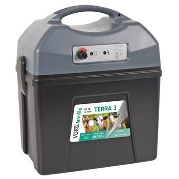 Électrificateur multifonctions de clôture électrique «TERRA 3» de VOSS.farming - pour 9 V, 12 V et 230 V