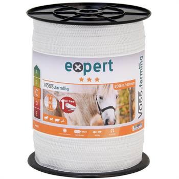 Ruban de clôture électrique VOSS.farming de 200 m, 40 mm, 9 x 0,16 acier inoxydable, blanc