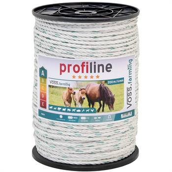 Cordelette pour clôture électrique 200 m, 6 mm, 3 x 0,30 cuivre + 3 x 0,3 acier inoxydable, blanc-vert 4****