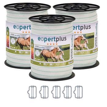 3 bobines ruban de clôture électrique VOSS.farming 200 m, 40 mm, 1 x 0,20 cuivre + 6 x 0,20 inox + 5 connecteurs + panneau d'avertissement