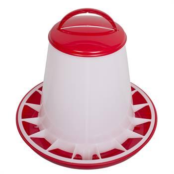 Distributeur de nourriture automatique pour volailles avec couvercle, convient pour 3 kg de nourriture maxi.