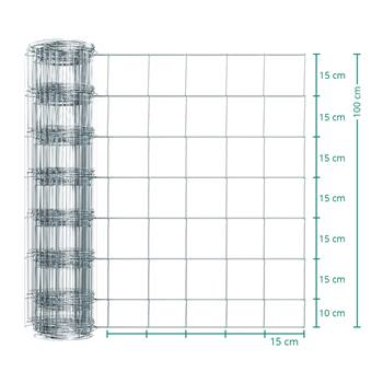 Clôture de protection Classic animaux sauvages VOSS.farming, 50 m, fil grillagé, hauteur 100 cm - 100/08/15