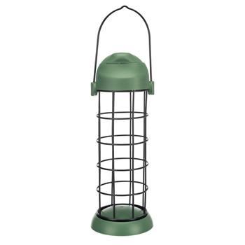 Distributeur de boules de graisse pour oiseaux avec toit, 3 boules, métal/plastique 8 x 22 cm