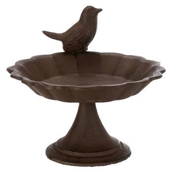Abreuvoir pour oiseaux à poser, en fonte, 250 ml, Ø 16 cm, marron
