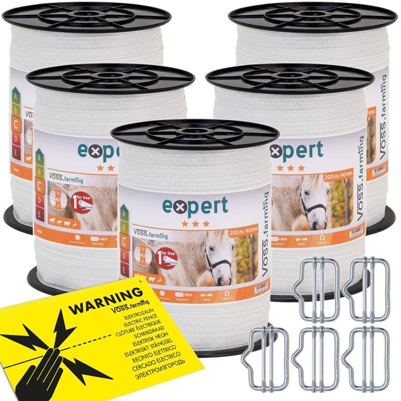 44150.5-1-5x-rubans-de-cloture-electrique-voss-farming-200-m-40-mm-9-x-0-16-acier-inoxydable-blanc-a